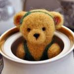 Needle Felted Brown Teddy Bear in g..