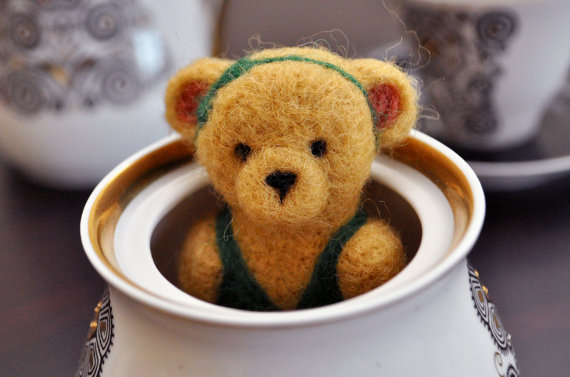 Needle Felted Brown Teddy Bear in green suit magnet