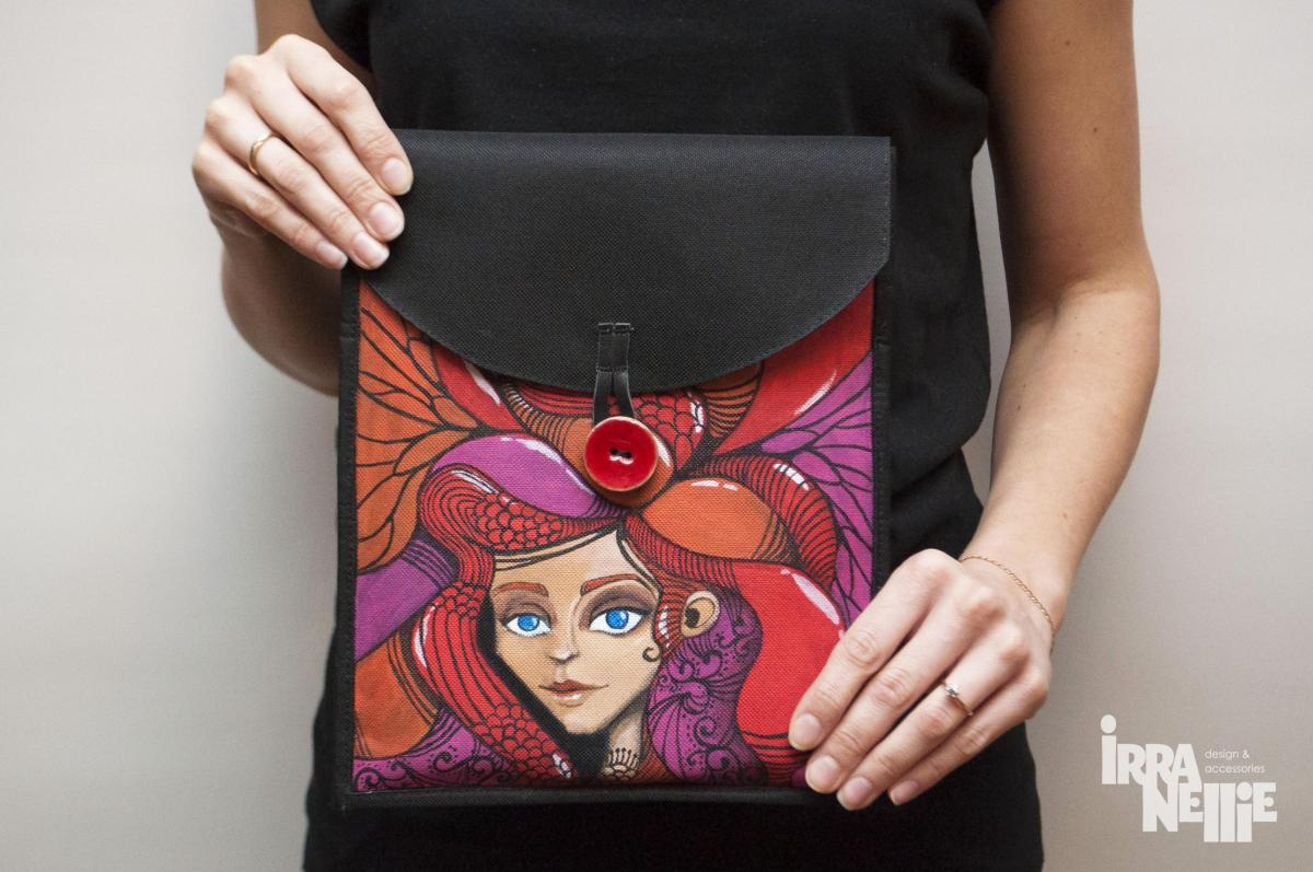 iPad cover, unique, hand painted design, art work, one of a kind.