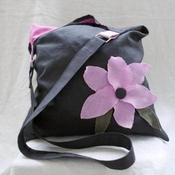 Linen tote bag with pink linen flower, gray, one of a kind